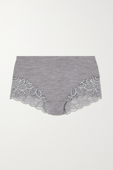 Thumbnail for your product : Hanro Karla Lace-trimmed Ribbed Wool And Silk-blend Briefs - Gray