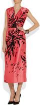 Miu Miu Printed duchesse-silk wrap-front dress