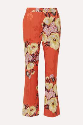 Etro Floral-print Jacquard Pants - Coral