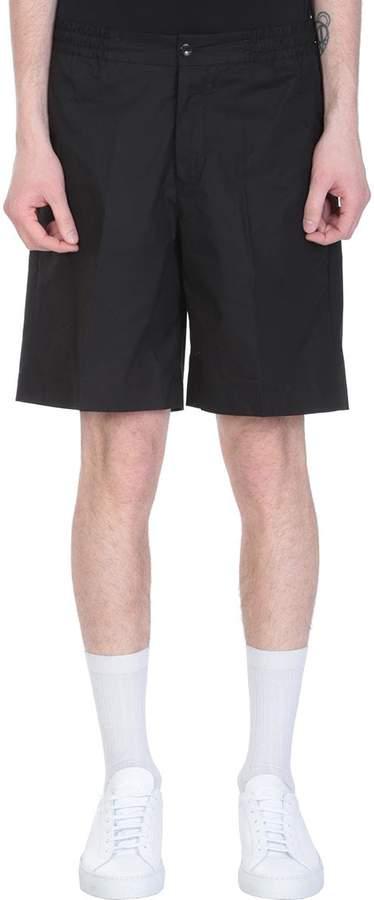 Pt01 Black Cotton Bermuda Shorts