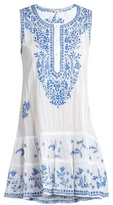 Juliet Dunn Sleeveless embroidered cotton-voile dress