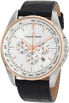 Pierre Petit Men's P-786B Serie Le Mans Two-Tone Chronograph Tachymeter Black Leather Watch