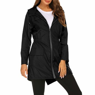 Yczx Women Waterproof Raincoat Hooded Long Sleeve Rain Jacket Lightweight Windbreaker Outdoor Long Trench Coats Button Zipper Front Closure Raincoat Drawstring Adjustable Waist Camping Hiking XL