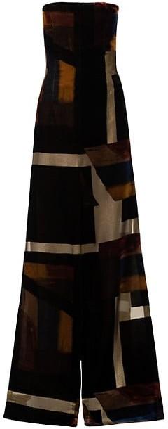 Akris Corsage Strapless Velvet A-Line Gown
