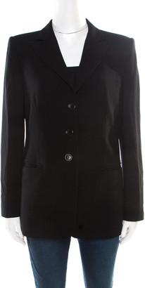 Armani Collezioni Black Wool Three Button Tailored Blazer M