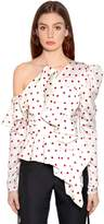 Self-Portrait Asymmetrical Polka Dot Printed Satin Top