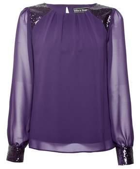 Dorothy Perkins Womens **Billie & Blossom Purple Sequin Long Sleeve Top, Purple