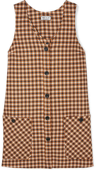 Paul & Joe Baydere Houndstooth Wool Mini Dress - Brown