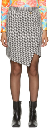 Balenciaga Black and White Houndstooth Twisted Mini Skirt