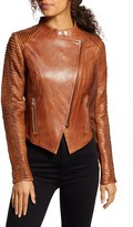 LAMARQUE Azra Statement Sleeve Leather Moto Jacket