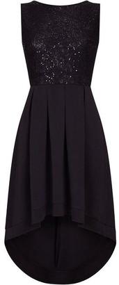 Yumi Sequin Bodice Asymmetric Dress