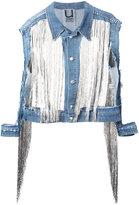 Aviu cut-out detail fringed denim jacket