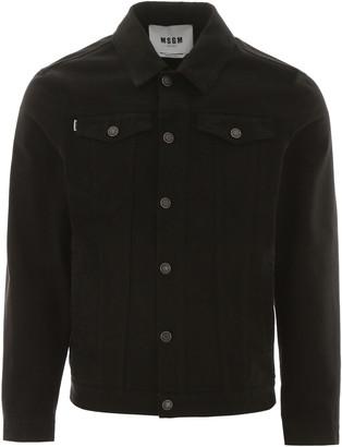 MSGM Denim Jacket With Fluo Label