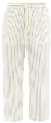 COMMAS Striped Drawcord Linen Trousers - Cream Multi