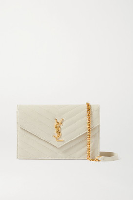 Saint Laurent Monogramme Quilted Textured-leather Shoulder Bag - Off-white