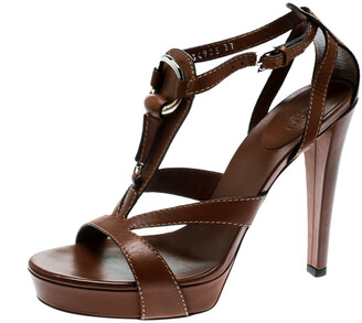 Gucci Brown Leather Icon Bit Ankle Strap Platform Sandals Size 37