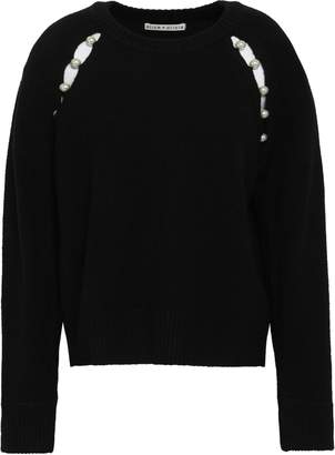 Alice + Olivia Faux Pearl-embellished Cutout Knitted Sweater