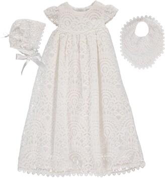 Carriage Boutique 4-Piece All Lace Christening Set with Bonnet & Bib