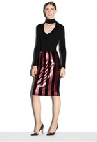 Milly Exclusive Paillette Stripes Midi Pencil Skirt
