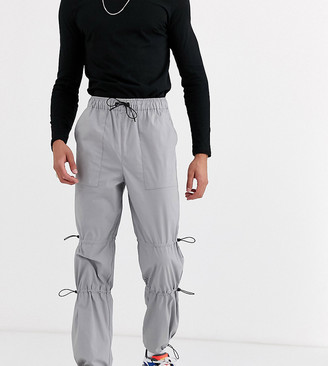 ASOS DESIGN Tall cargo trousers with ruched leg details in grey