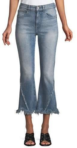 DL1961 Premium Denim Wallace High-Rise Flare Raw-Edge Cropped Jeans
