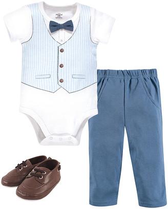 Hudson Baby Boys' Infant Bodysuits Lt. - White & Light Blue Vest Bow Tie Little Treasure Bodysuit Set - Newborn & Infant