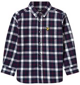 Lyle & Scott Navy Checked Long Sleeve Shirt