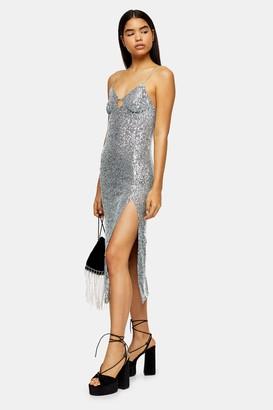 Topshop Womens Sequin Keyhole Midi Dress - Duck Egg