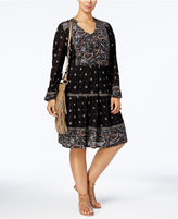 Style&Co. Style & Co Plus Size Mixed-Print Fit & Flare Peasant Dress, Created for Macy's