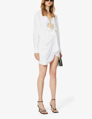 Jacquemus La Robe Bahia ruched woven mini dress