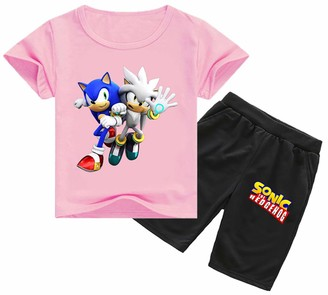 Silver Basic Sonic The Hedgehog Clothes for Boys T Shirt and Pants Two Pieces Suit Sonic Tracksuit for Kids Sonic Dr. Eggman Cosplay Top 100