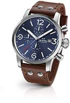 TW Steel 'Maverick' Quartz Stainless Steel and Leather Dress Watch, Color:Brown (Model: MS104)