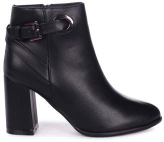 Linzi DAISY - Black Nappa Heeled Ankle Boot With Gold Buckle Detail