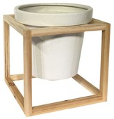 Smith & Hawken Stoneware Planter with Wood Frame (10.8