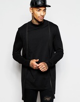 Asos Super Longline Long Sleeve T-shirt With Turtle Neck And Double Layer Zip Cardigan - Black