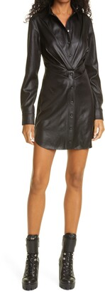 RtA Vivienne Faux Leather Long Sleeve Minidress