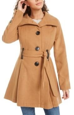 Madden-Girl Juniors' Belted Drama Skirted Coat, Created for Macy's