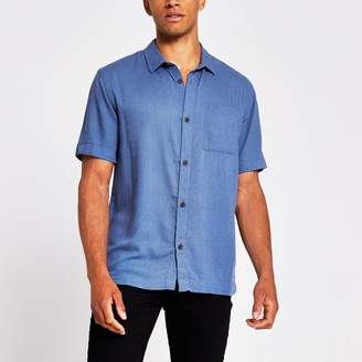 River Island Mens Blue short sleeve linen regular fit shirt