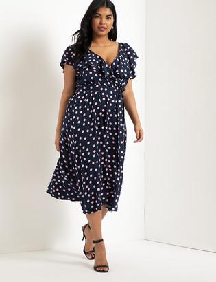 ELOQUII Ruffle Midi Dress