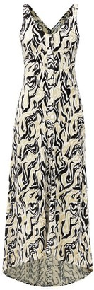 Paco Rabanne Dipped-hem Metallic Swirl-jacquard Midi Dress - Gold Multi