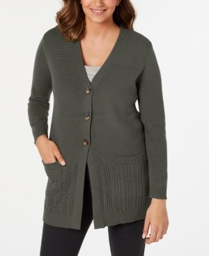 Karen Scott Plus Size Button-Front Mixed-Stitch Cardigan, Created for Macy's