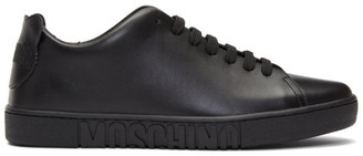 Moschino Black Leather Teddy Patches Sneakers