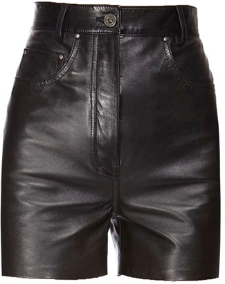 Salvatore Ferragamo Nappa Leather High-waist Shorts