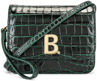 Balenciaga Small Embossed Croc B Bag in Dark Green | FWRD