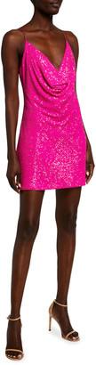 Jay Godfrey Baldwin Sequin Cowl-Neck Mini Dress