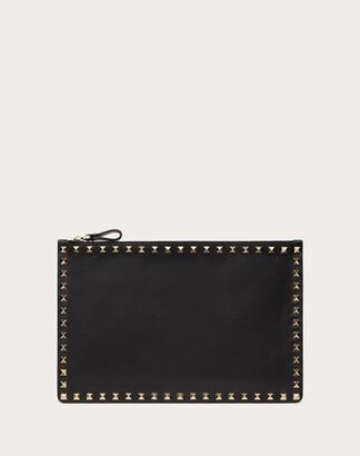 Valentino Rockstud Calfskin Pouch Women Black Cotton, Polyester OneSize
