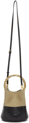 Marni Black and Beige Lizard Pannier Bag