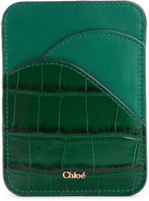 Chloé Walden Croc Embossed Leather Card Holder