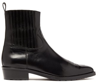Toga Virilis Topstitched Leather Chelsea Boots - Black