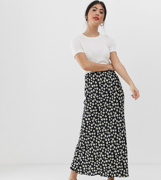 Asos DESIGN Petite daisy print bias cut maxi skirt
